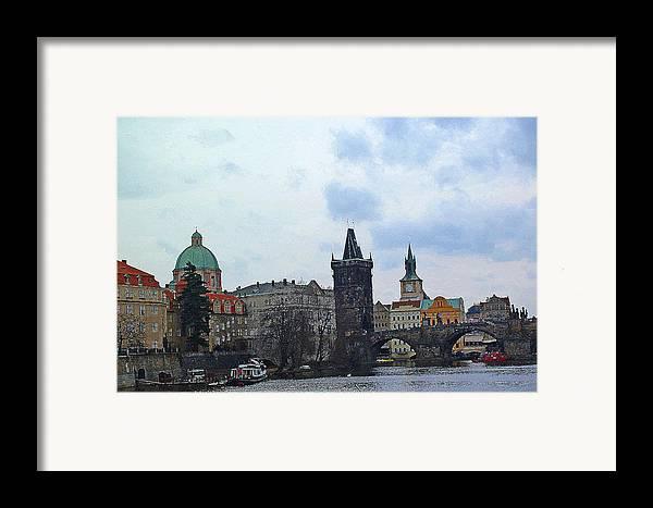 Prague Digital Art Framed Print featuring the digital art Charles Street Bridge And Old Town Prague by Paul Pobiak