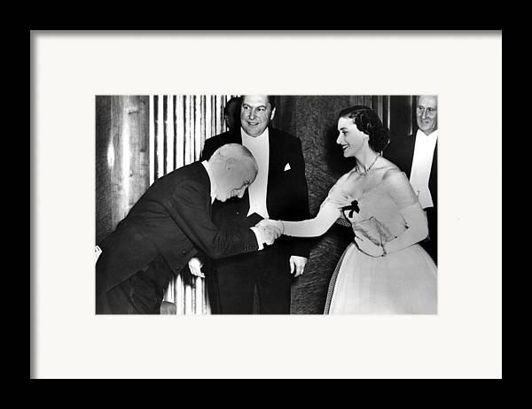 1950s Framed Print featuring the photograph Charlie Chaplin Meeting Princess by Everett