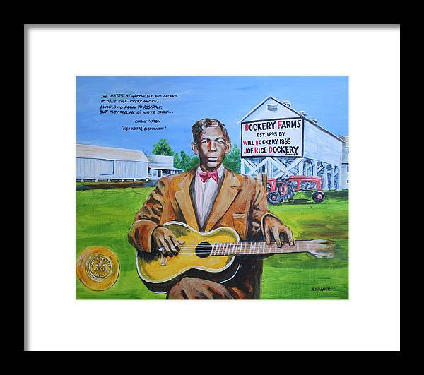 Charlie Patton Framed Print featuring the painting Charlie Patton by Karl Wagner