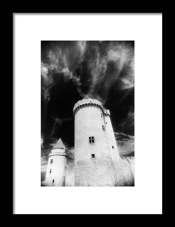 Architecture; Exterior; French; Castle; Renaissance; Tower; Towers; Fort; Fortress; Night; Dramatic; Atmospheric; Dark; Night; Stormy; Moonlit; Moonlight; Turret; Turrets; Haunted; Fairytale; Spooky; Eerie Framed Print featuring the photograph Chateau De Blandy Les Tours by Simon Marsden