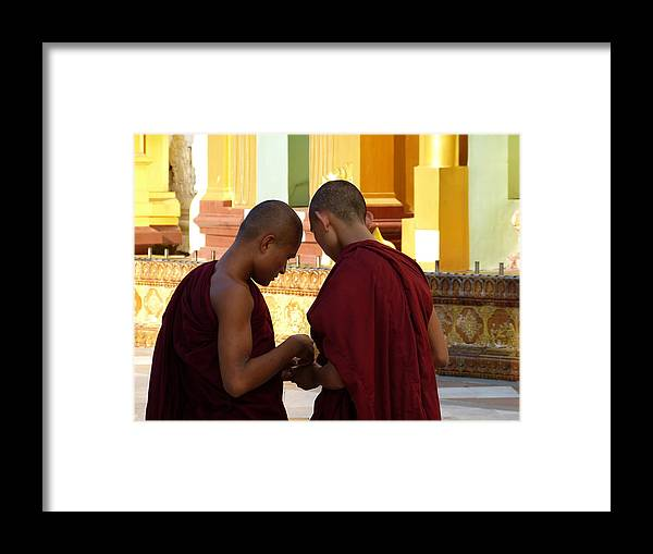 Burma Framed Print featuring the photograph Chatting Monks by Arnaud Fouche