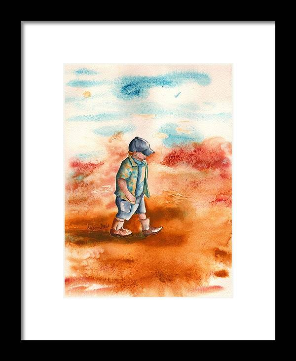Chayton's Boots Framed Print featuring the painting Chayton's Boots by Sharon Mick