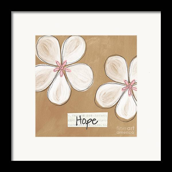 cherry Blossoms Framed Print featuring the painting Cherry Blossom Hope by Linda Woods
