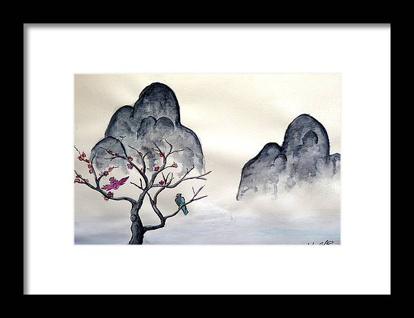 Birds Framed Print featuring the painting Cherry Blossom Mountains by Anthony Nold