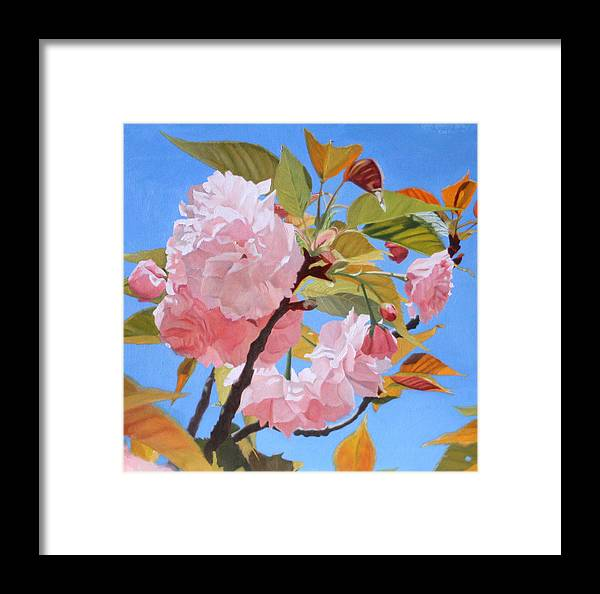 Flowers Framed Print featuring the painting Cherry Blossom Time by Leah Hopkins Henry