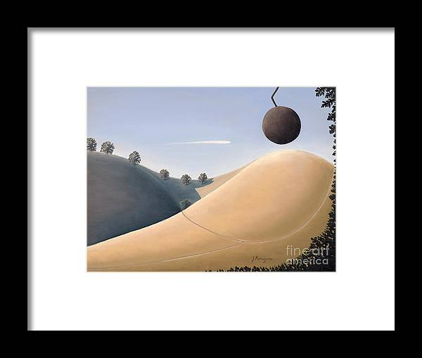 Landscape Framed Print featuring the painting Cherry Hill by Juan Romagosa