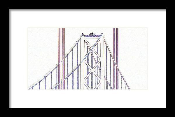 Line Drawing Framed Print featuring the digital art Chesapeake Bridge Between The Lines by Rrrose Pix