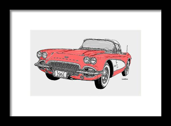 Chevrolet Corvette Framed Print featuring the digital art Chevy Corvette 2 by Larry Linton