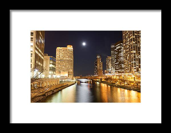 America Framed Print featuring the photograph Chicago At Night At Columbus Drive Bridge by Paul Velgos