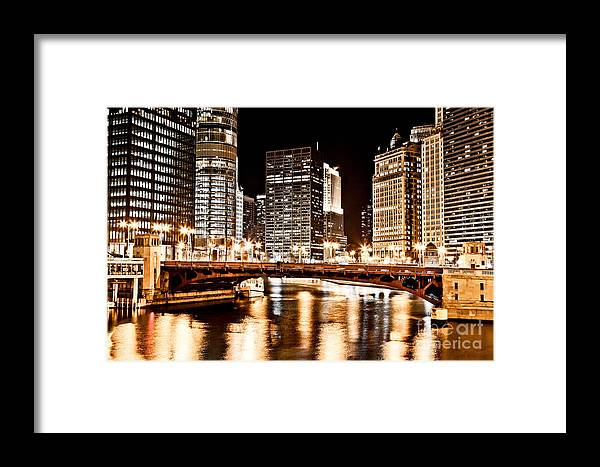 America Framed Print featuring the photograph Chicago At Night At State Street Bridge by Paul Velgos