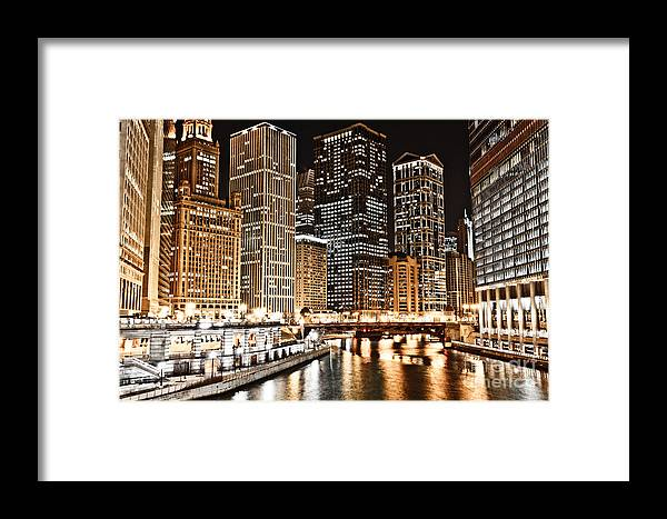 America Framed Print featuring the photograph Chicago City Skyline At Night by Paul Velgos