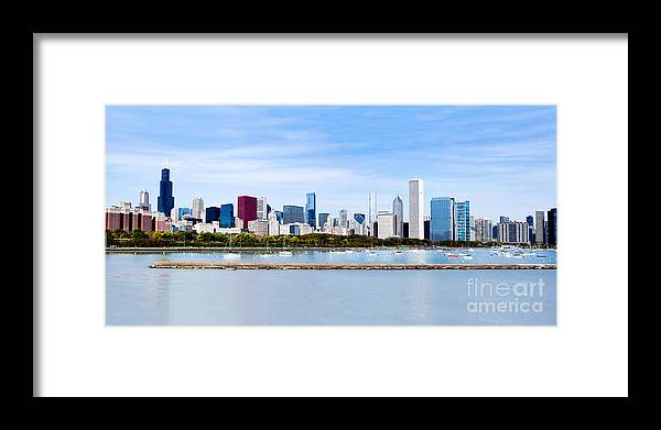 America Framed Print featuring the photograph Chicago Panarama Skyline by Paul Velgos