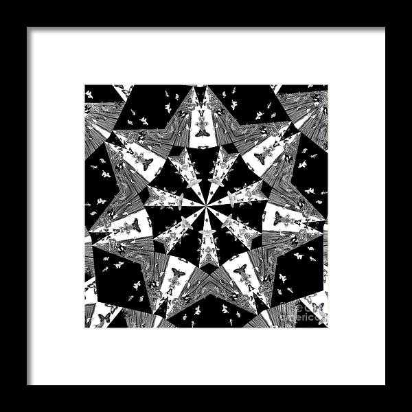 Butterflies Framed Print featuring the photograph Children Animals Kaleidoscope Black And White by Donna Brown