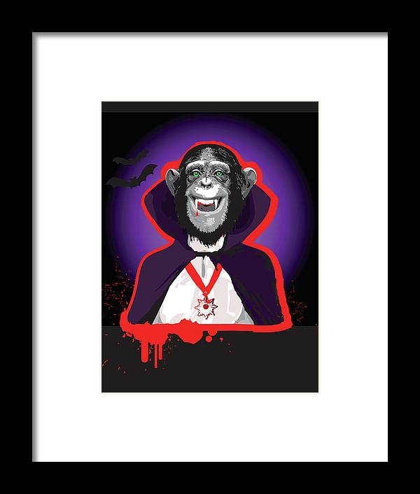 Vertical Framed Print featuring the digital art Chimpanzee In Dracula Costume by New Vision Technologies Inc