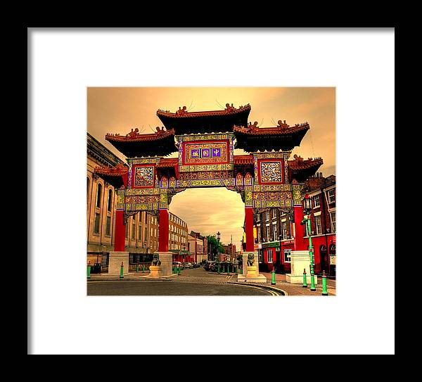 China Town Liverpool Framed Print featuring the digital art China Town Liverpool by Barry R Jones Jr