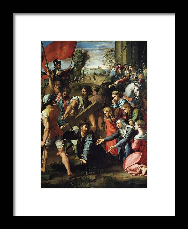 Christ Falls Way To Calvary Framed Print featuring the painting Christ Falls On The Way To Calvary by Raphael