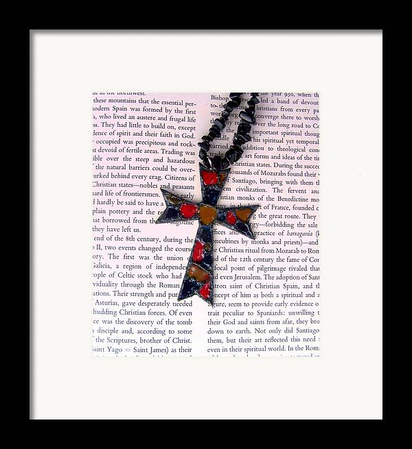 Bible Framed Print featuring the jewelry Christian Cross by Cynthia Amaral