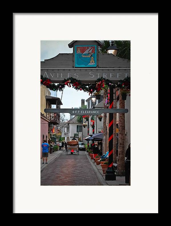 St Augustine Framed Print featuring the photograph Christmas On Aviles Street by DigiArt Diaries by Vicky B Fuller