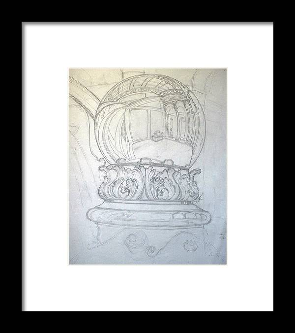 Ball Framed Print featuring the drawing Chrome Ball at M.I.C.A. by Robert Fenwick May Jr