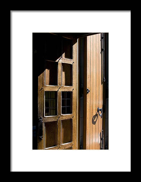 Brown Framed Print featuring the photograph Church Door by Jeffrey Auger