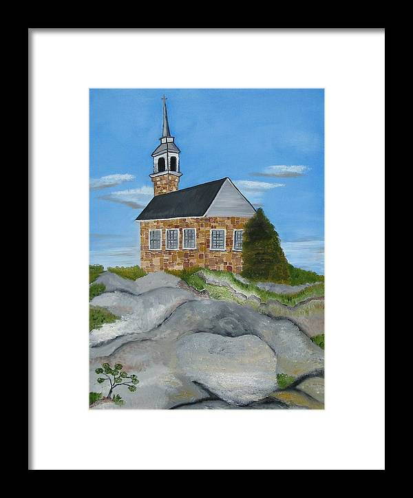Landscape Framed Print featuring the painting Church On Star Island by Suzanne Buckland