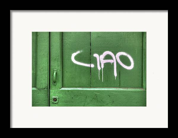 Wooden Door Framed Print featuring the photograph Ciao by Joana Kruse