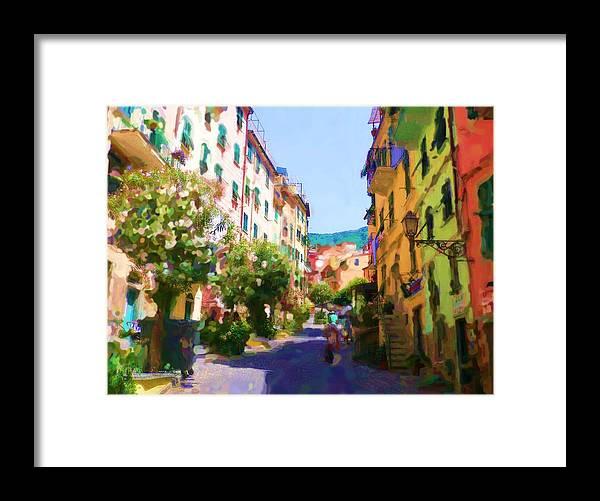 Cinque Terre Framed Print featuring the digital art Cinque Terre by Asbjorn Lonvig