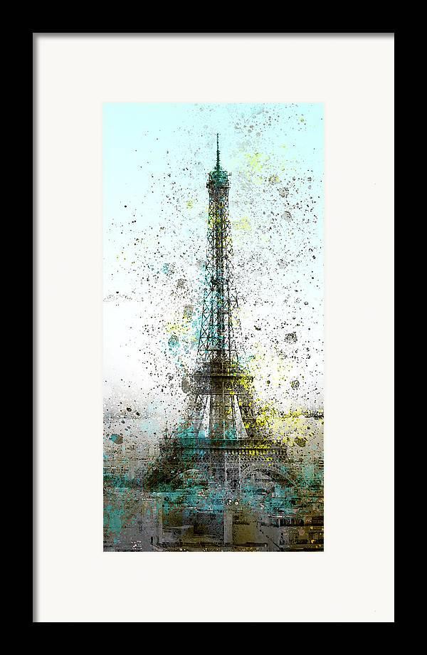 Europe Framed Print featuring the digital art City-art Paris Eiffel Tower II by Melanie Viola