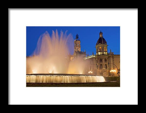 Water Framed Print featuring the photograph City Hall And Fountain At Dusk by Axiom Photographic