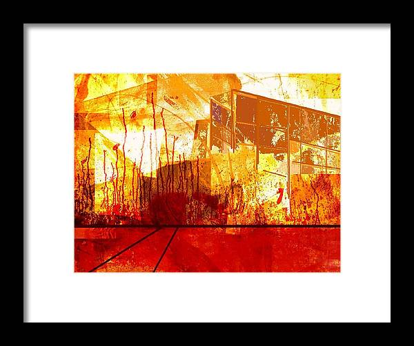 Abstract Framed Print featuring the digital art City in red and yellow by Joseph Ferguson