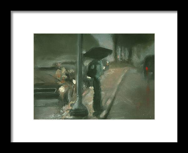City Framed Print featuring the pastel City Rain 5 by Paul Mitchell