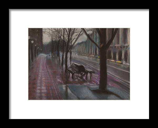 City Framed Print featuring the pastel City Rain 9 by Paul Mitchell