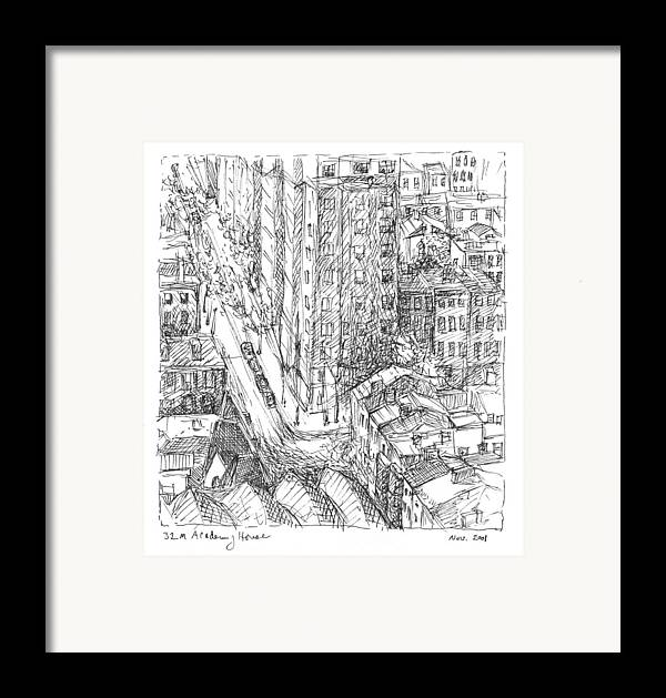 Philadelphia Framed Print featuring the drawing City Scape by Elizabeth Carrozza