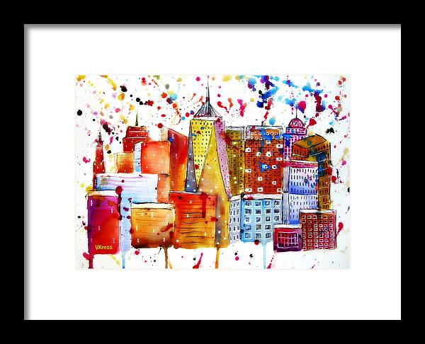 Framed Print featuring the painting Cityscape 1 by Valentina Kross