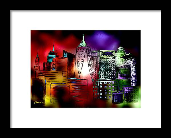 Cityscape Framed Print featuring the painting Cityscape 3 by Valentina Kross