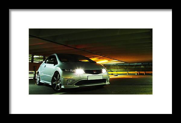 Honda Framed Print featuring the photograph Civic lights 2 by Christopher Mercer