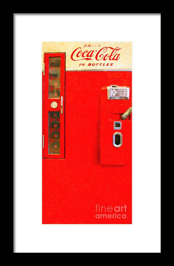 Coke Machine Framed Print featuring the photograph Classic Coke Dispenser Machine . Type 2 . Long Cut by Wingsdomain Art and Photography