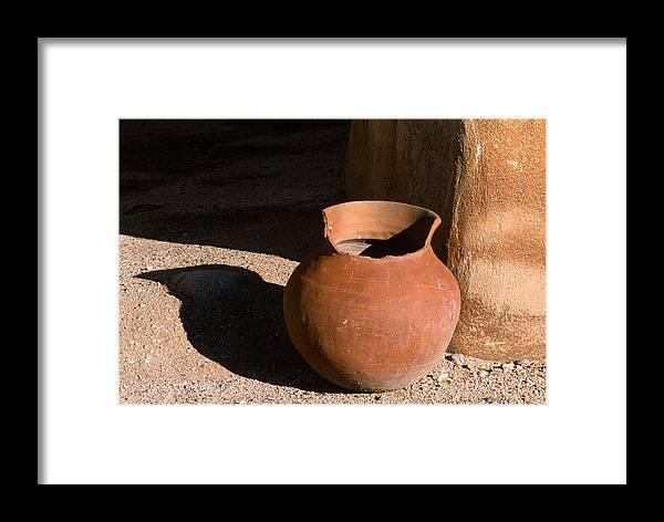 Mexican Pottery Framed Print featuring the photograph Clay Pot And Shadow by Sandra Bronstein