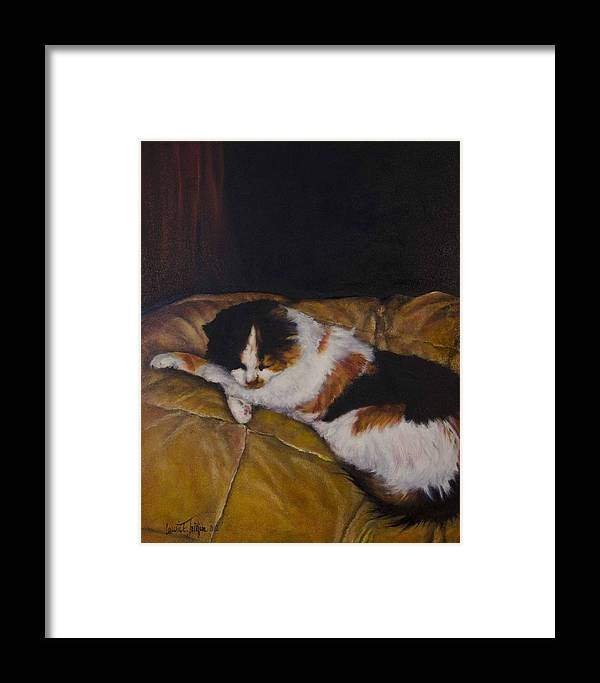 Cat Framed Print featuring the painting Cleo On The Blanket by Laurie Tietjen