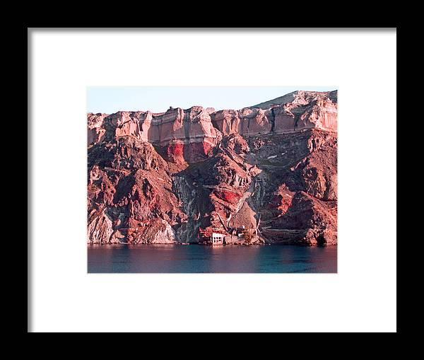 Santorini Framed Print featuring the photograph Cliffs Of Santorini by Ellen Holmes