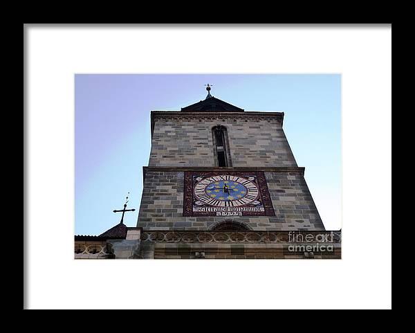 Black Framed Print featuring the photograph Clock Tower of Black Church Brasov Romania by Amalia Suruceanu