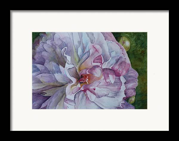 Close Up Floral Framed Print featuring the painting Close Focus Peony by Patsy Sharpe