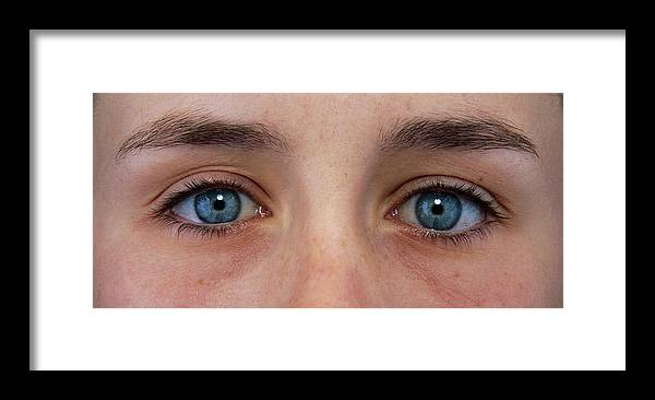 Eye Framed Print featuring the photograph Close-up Of A Woman's Blue Eyes by Damien Lovegrove