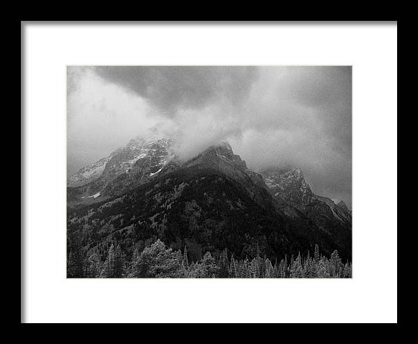 Yellowstone; National Park; Landscape; Black; White; Cloud; Overcast; Storm; Thunder; Pine; Tree; Mountain; Foothill; Elevation; Alp; Valley; Peak; Top; Mountaintop; Summit; Crest; Point; Climax; Zenith; Highpoint; Apex; Base; Snow; Ice; Weather; Jackson Hole; Montana Framed Print featuring the photograph Clouded Mountaintop by D L McDowell-Hiss
