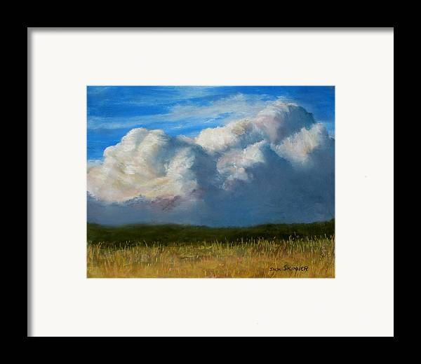 Clouds Framed Print featuring the painting Clouds Over The Meadow by Jack Skinner
