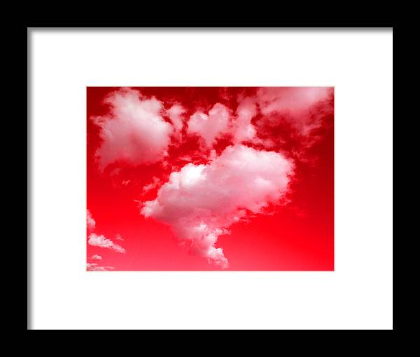 Clouds Framed Print featuring the photograph Clouds With Red Sky by Steve Fields