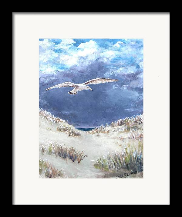 Seagull Framed Print featuring the painting Cloudy With A Chance Of Seagulls by Jack Skinner