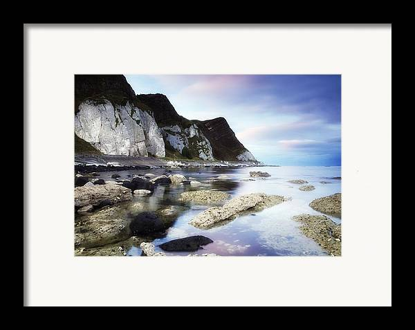 Atmosphere Framed Print featuring the photograph Coast Between Carnlough & Waterfoot, Co by The Irish Image Collection