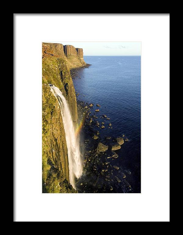 Kilt Rock Framed Print featuring the photograph Coastal Waterfall by Duncan Shaw