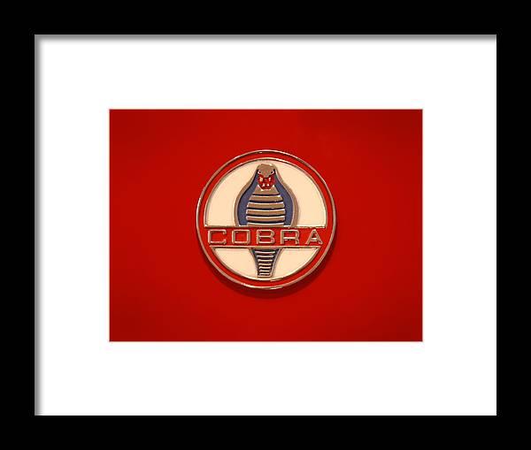 Transportation Framed Print featuring the photograph Cobra Emblem by Mike McGlothlen
